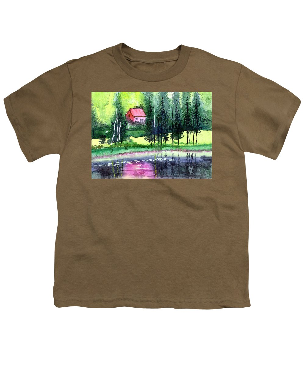 Landscape Youth T-Shirt featuring the painting Guest House by Anil Nene