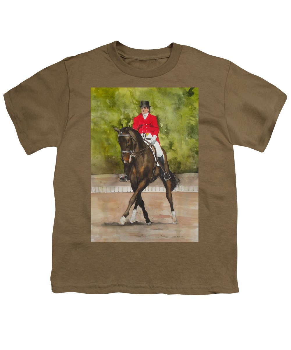 Horse Youth T-Shirt featuring the painting Half-Pass To The Right by Jean Blackmer