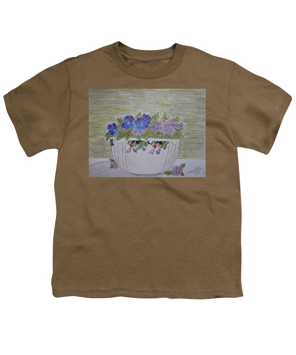 Hall China Youth T-Shirt featuring the painting Hall China Crocus Bowl With Violets by Kathy Marrs Chandler