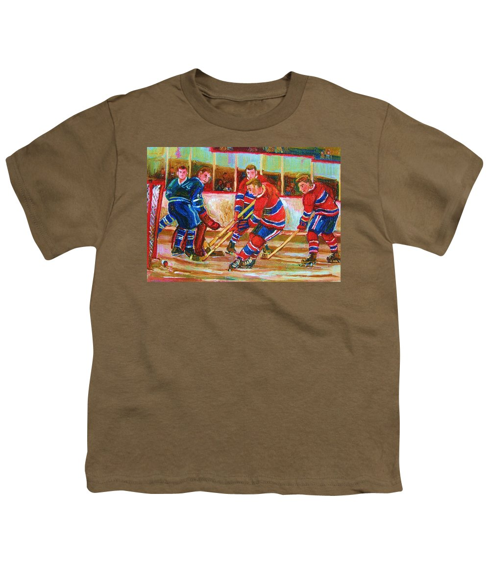 Hockey Youth T-Shirt featuring the painting He Shoots  He Scores by Carole Spandau