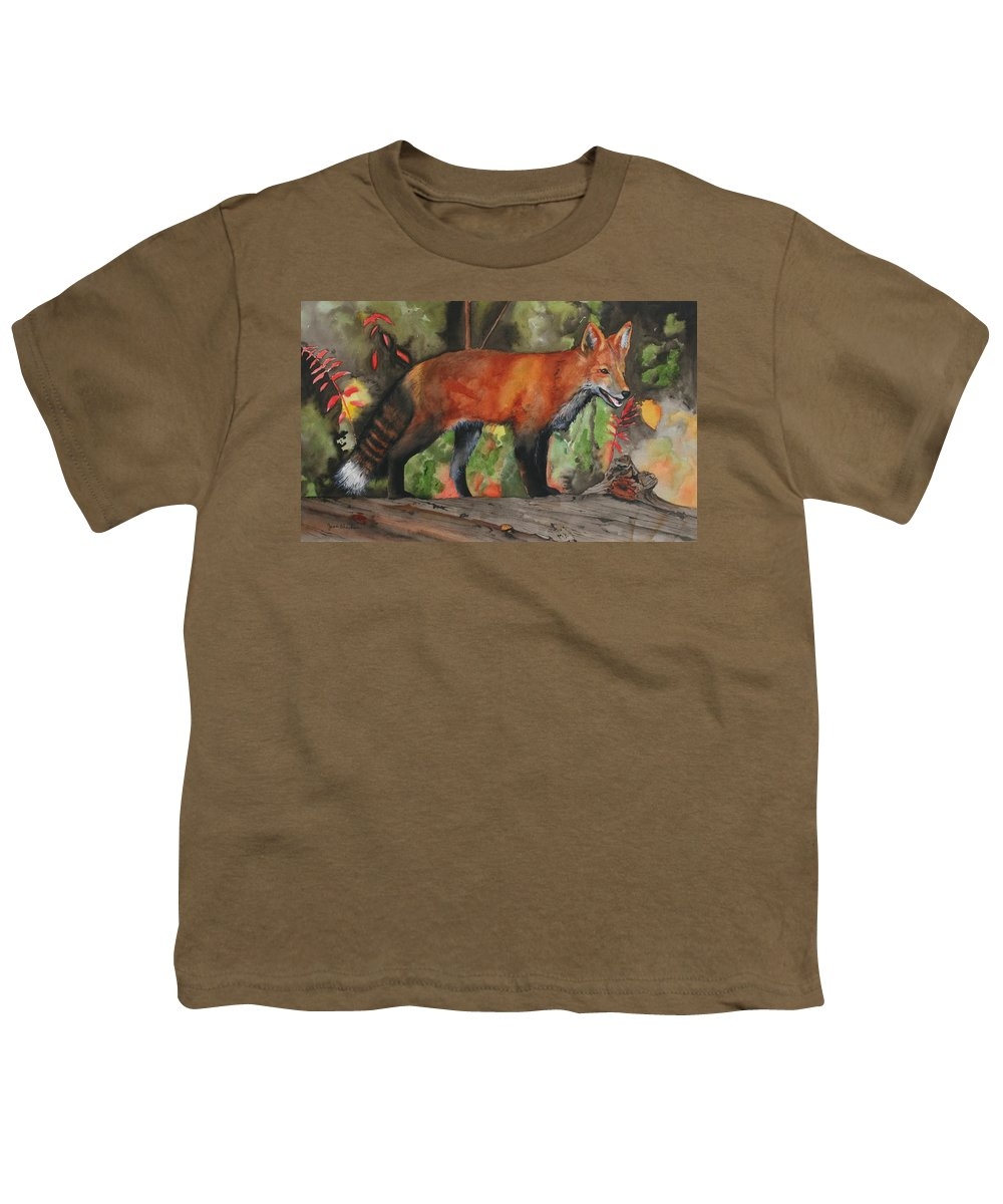 Fox Youth T-Shirt featuring the painting Hiding In Plain Sight by Jean Blackmer