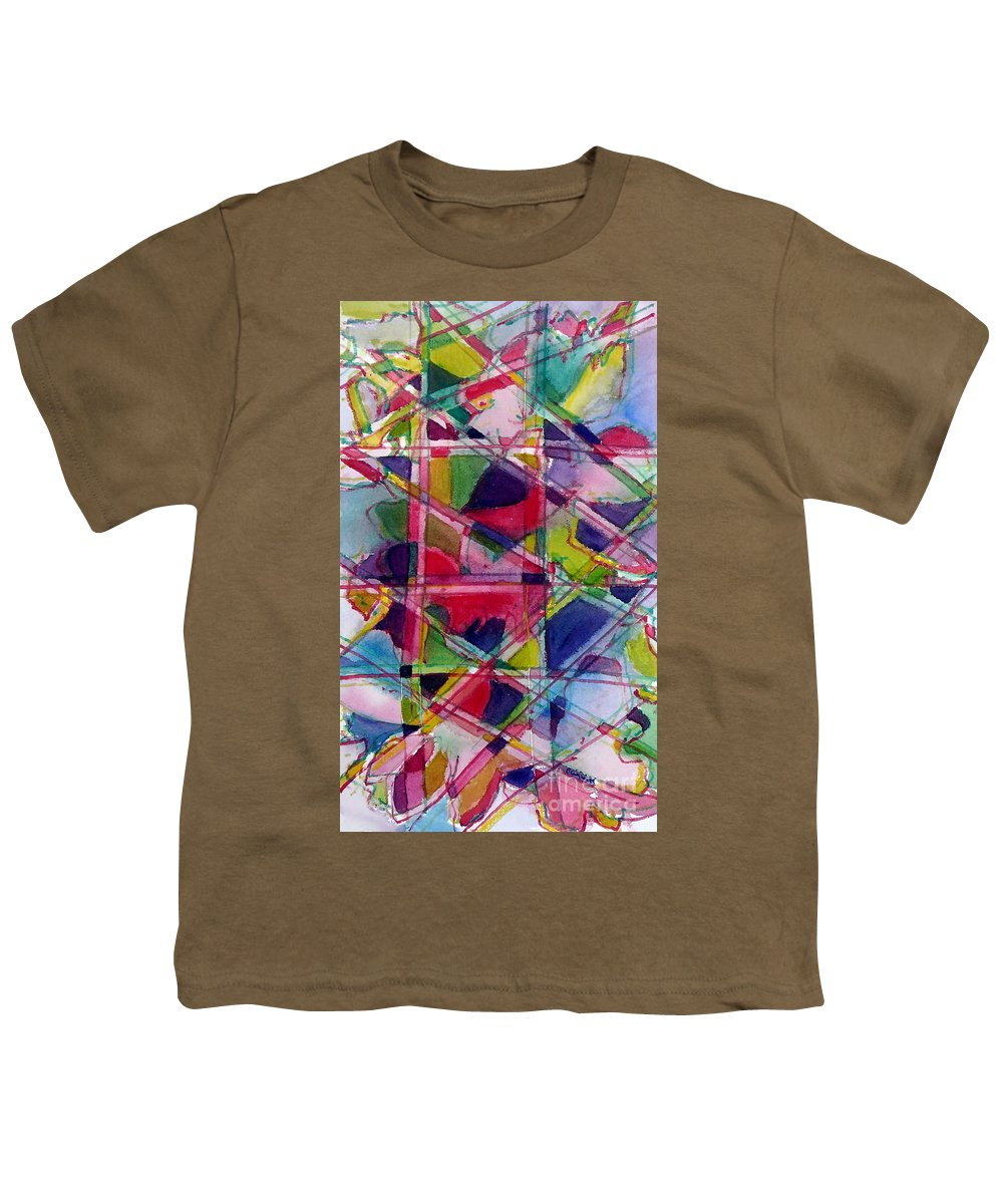 Abstract Youth T-Shirt featuring the painting Holiday Rush by Jan Bennicoff