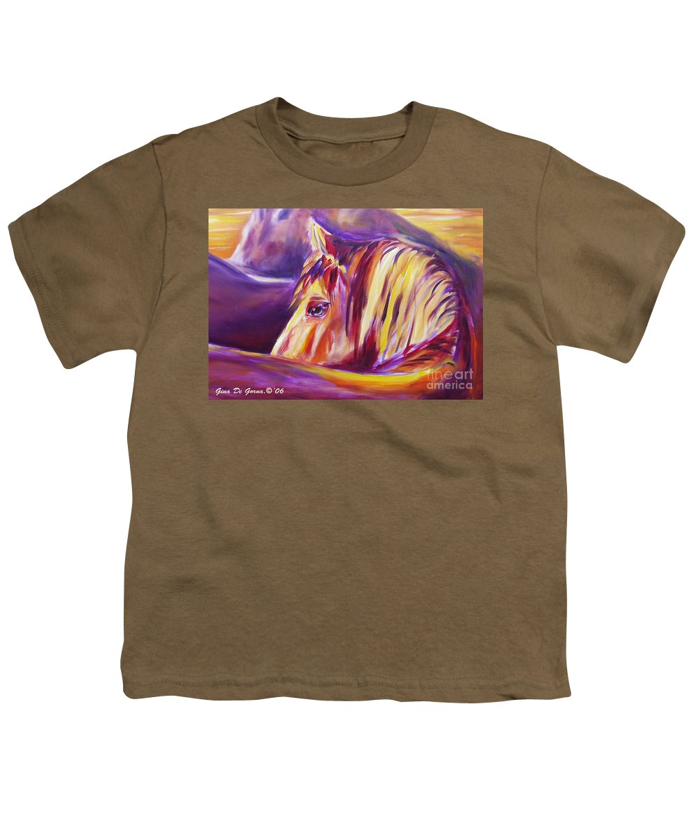 Horses Youth T-Shirt featuring the painting Horse World Detail by Gina De Gorna