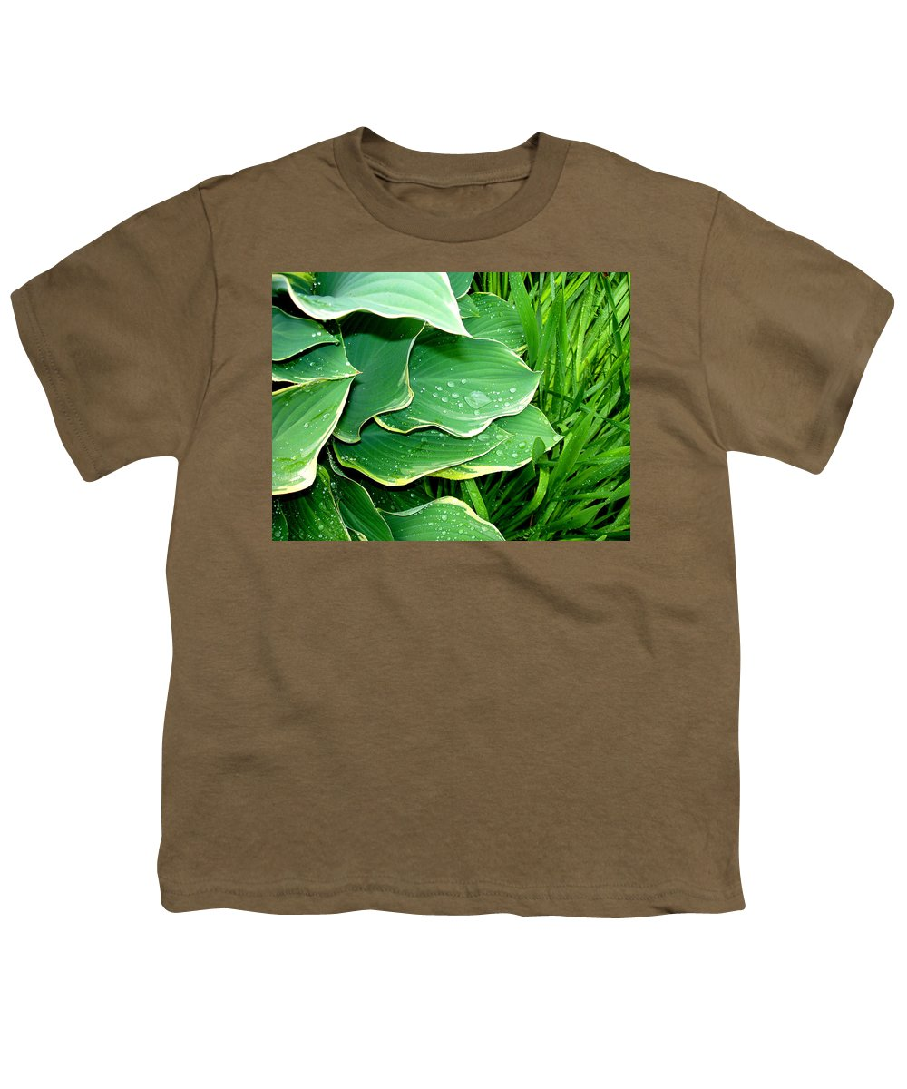 Hostas Youth T-Shirt featuring the photograph Hosta Leaves And Waterdrops by Nancy Mueller