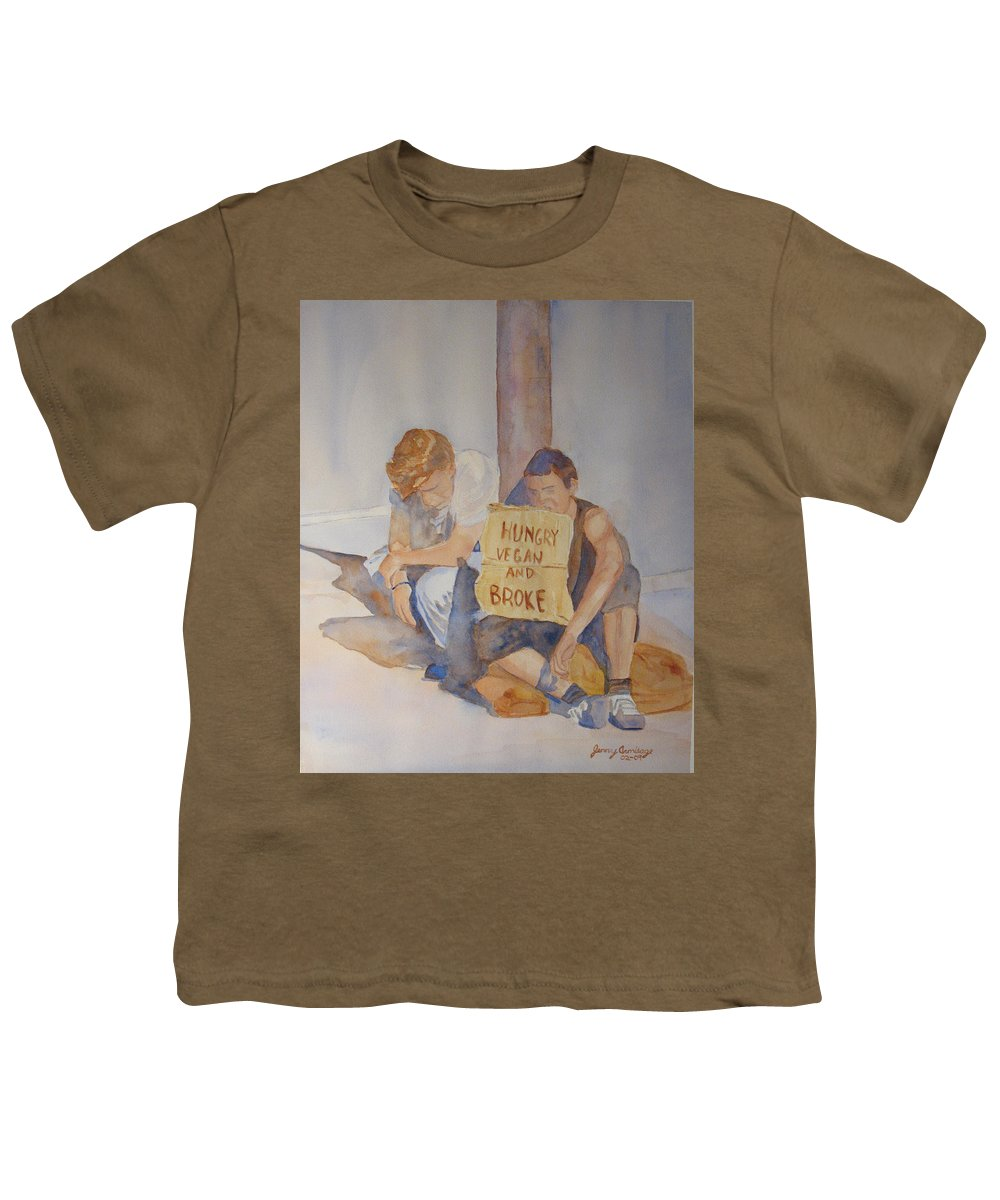 Humorous Youth T-Shirt featuring the painting Hungry Vegan And Broke by Jenny Armitage
