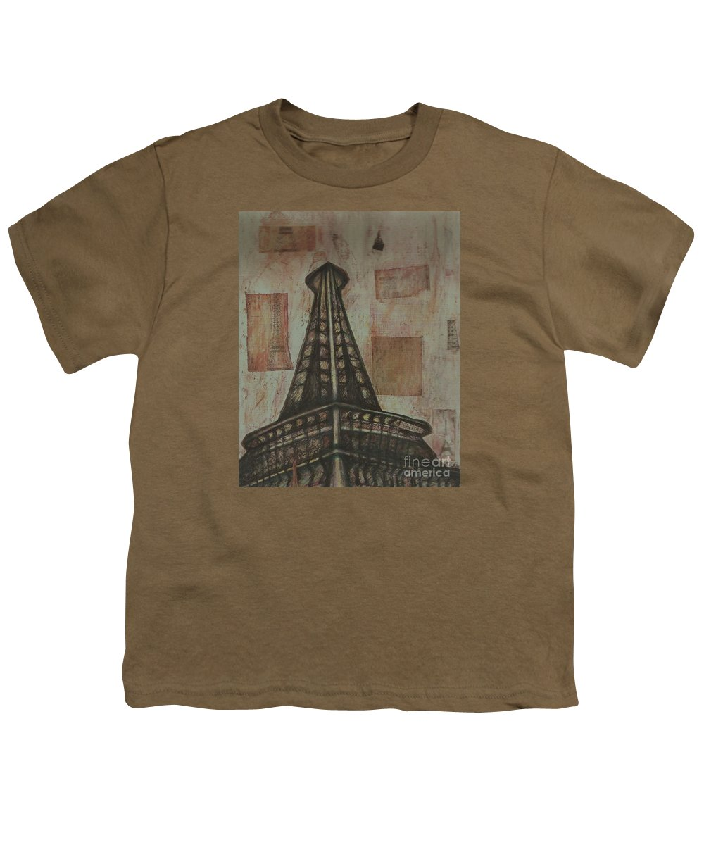 Structures Youth T-Shirt featuring the painting Iffel Tower by Sidra Myers