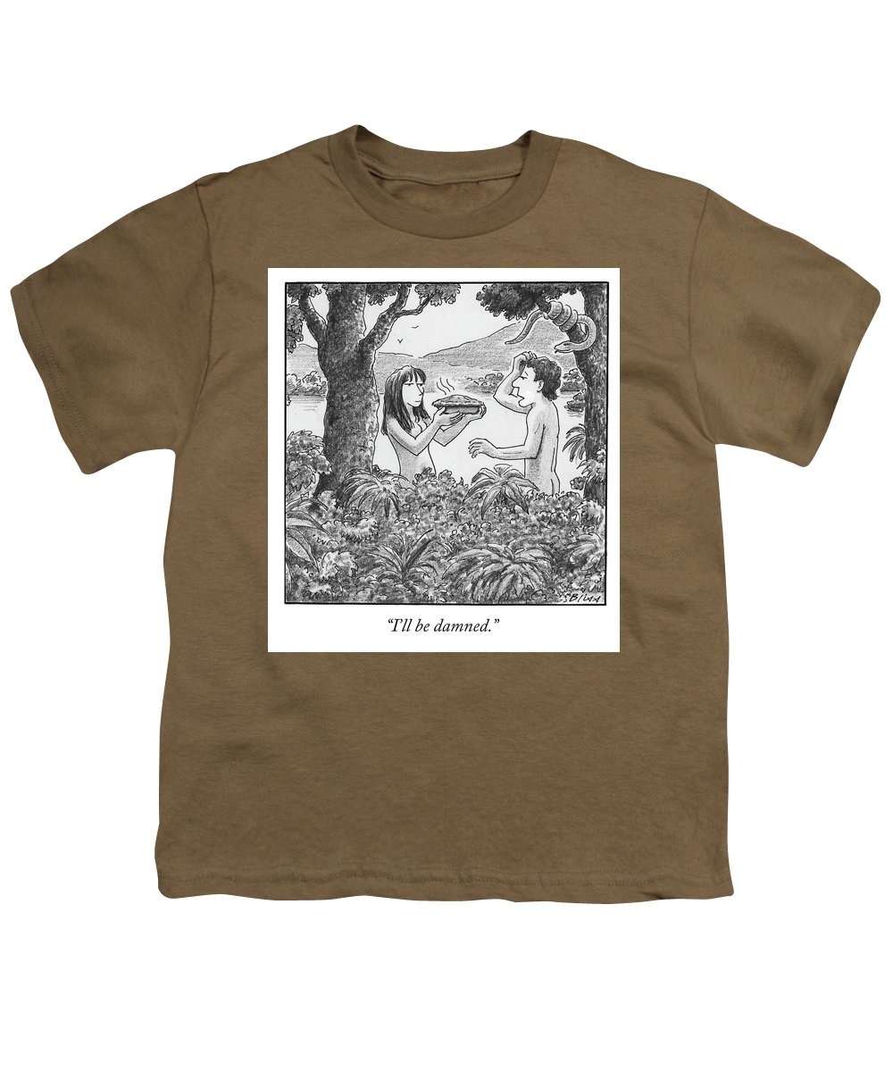 I'll Be Damned. Youth T-Shirt featuring the drawing I'll Be Damned by Harry Bliss