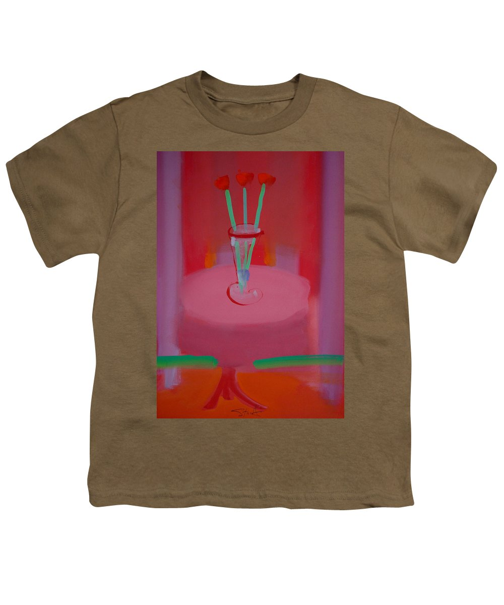 Vase Youth T-Shirt featuring the painting In The Red Room by Charles Stuart