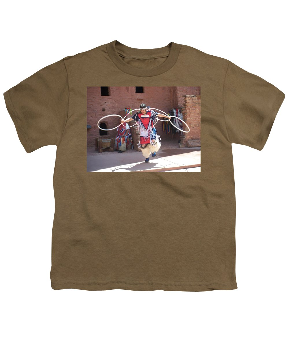 Indian Dancer Youth T-Shirt featuring the photograph Indian Hoop Dancer by Anita Burgermeister