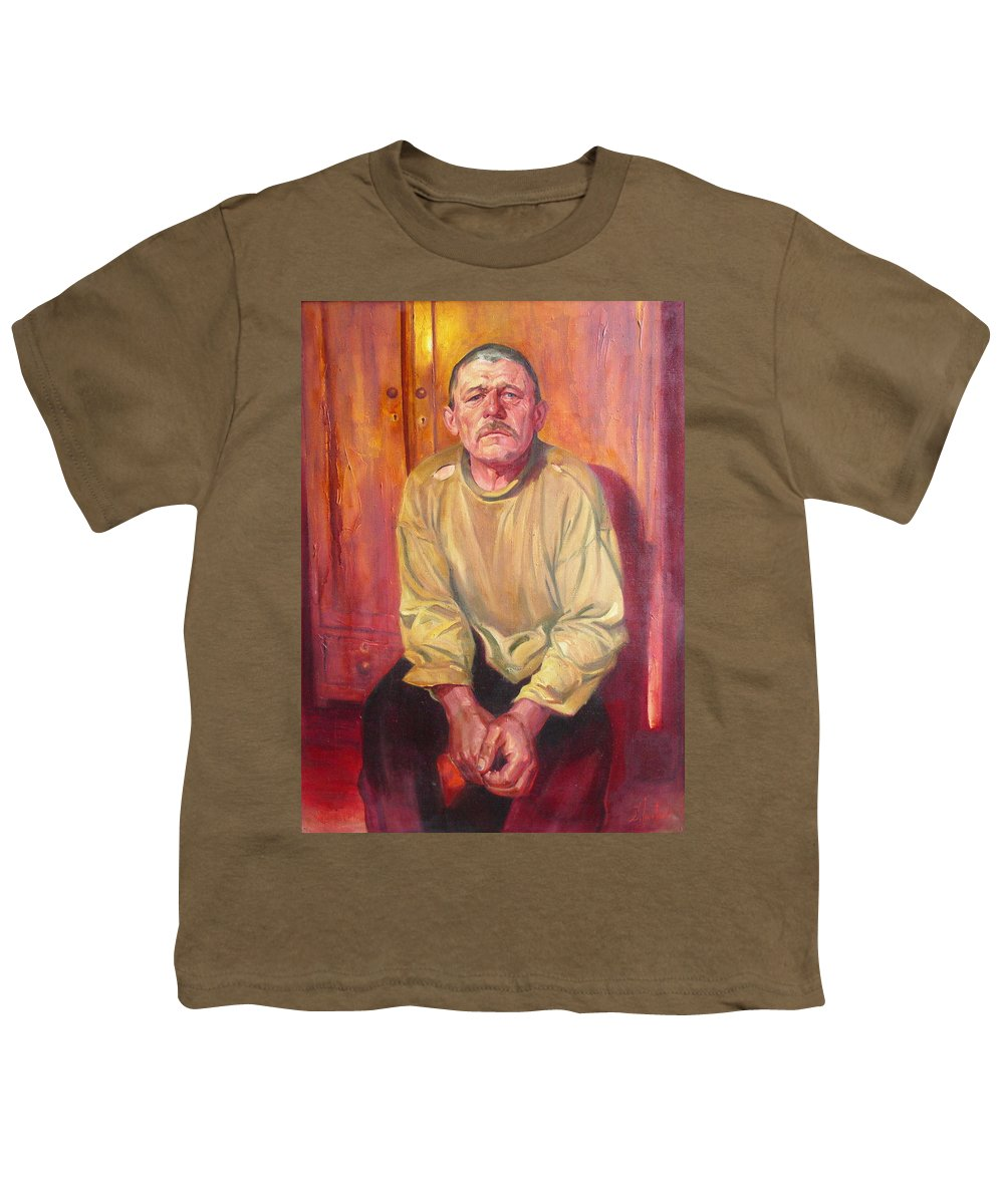 Oil Youth T-Shirt featuring the painting Inhabitant Of Chernobyl Zone by Sergey Ignatenko
