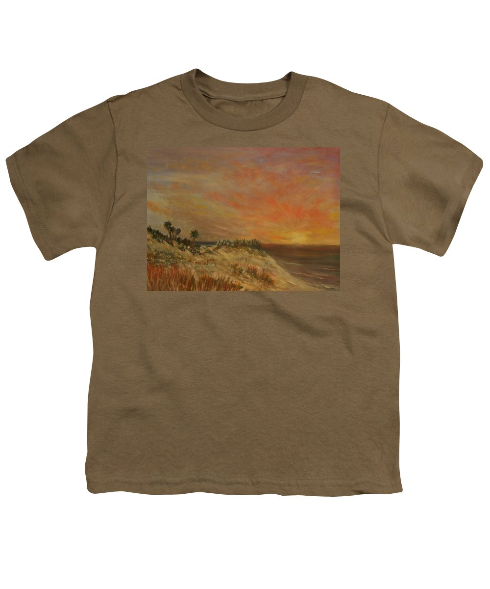 Sunset;beach;ocean;palm Trees Youth T-Shirt featuring the painting Island Sunset by Ben Kiger