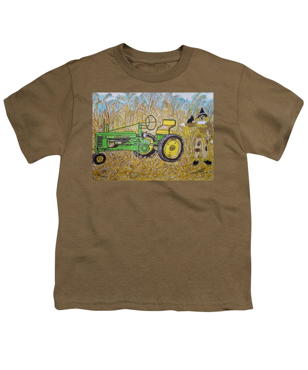 John Deere Youth T-Shirt featuring the painting John Deere Tractor And The Scarecrow by Kathy Marrs Chandler
