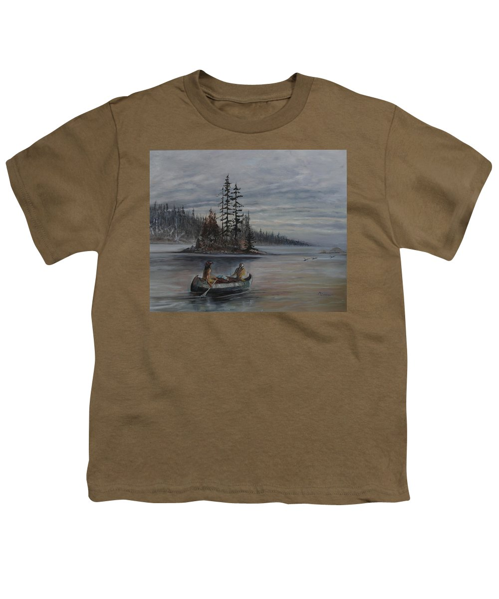 First Nation Youth T-Shirt featuring the painting Journey - Lmj by Ruth Kamenev