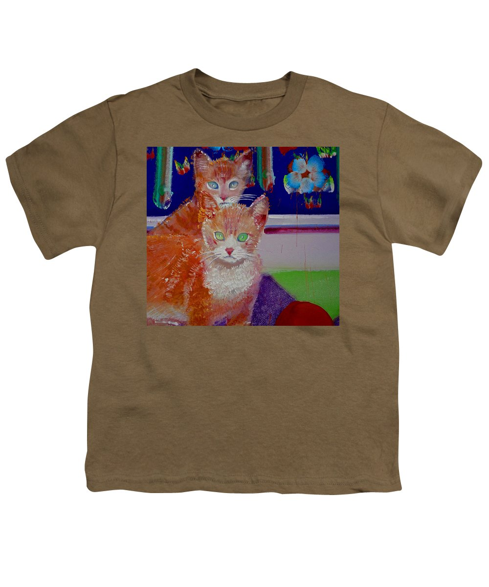 Kittens Youth T-Shirt featuring the painting Kittens With Wild Wallpaper by Charles Stuart