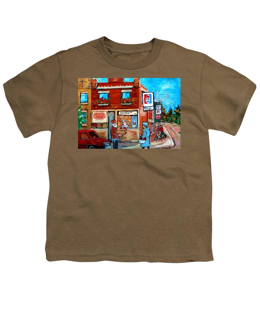 Kosher Bakery Youth T-Shirt featuring the painting Kosher Bakery On Hutchison Street by Carole Spandau