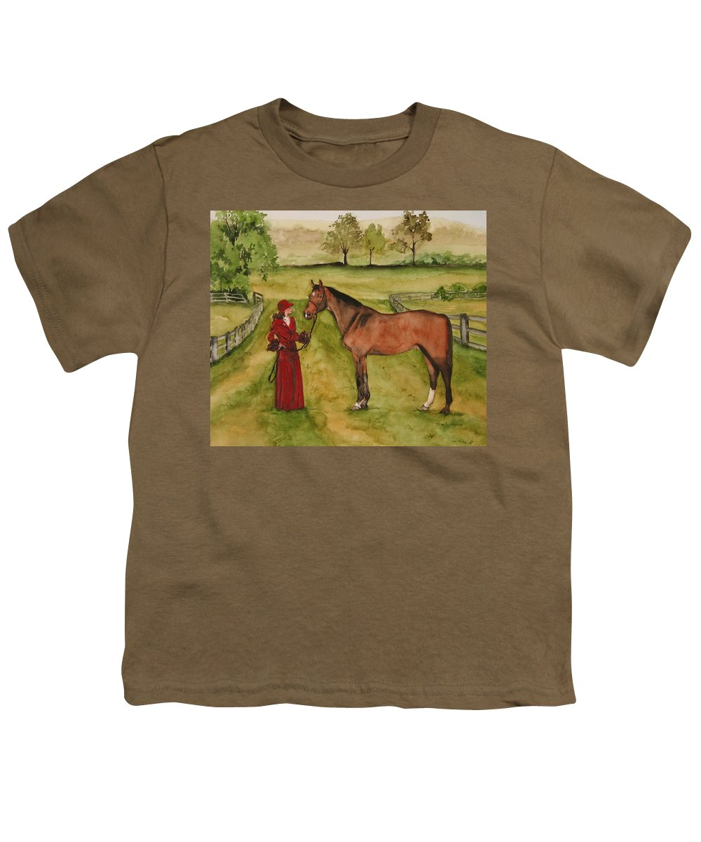 Horse Youth T-Shirt featuring the painting Lady And Horse by Jean Blackmer