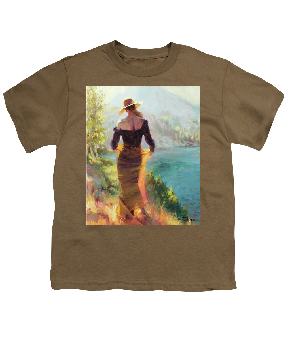 Woman Youth T-Shirt featuring the painting Lady of the Lake by Steve Henderson
