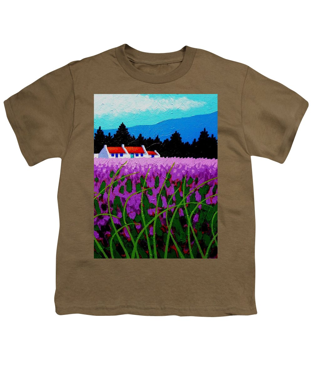 Lavender Youth T-Shirt featuring the painting Lavender Field - County Wicklow - Ireland by John Nolan