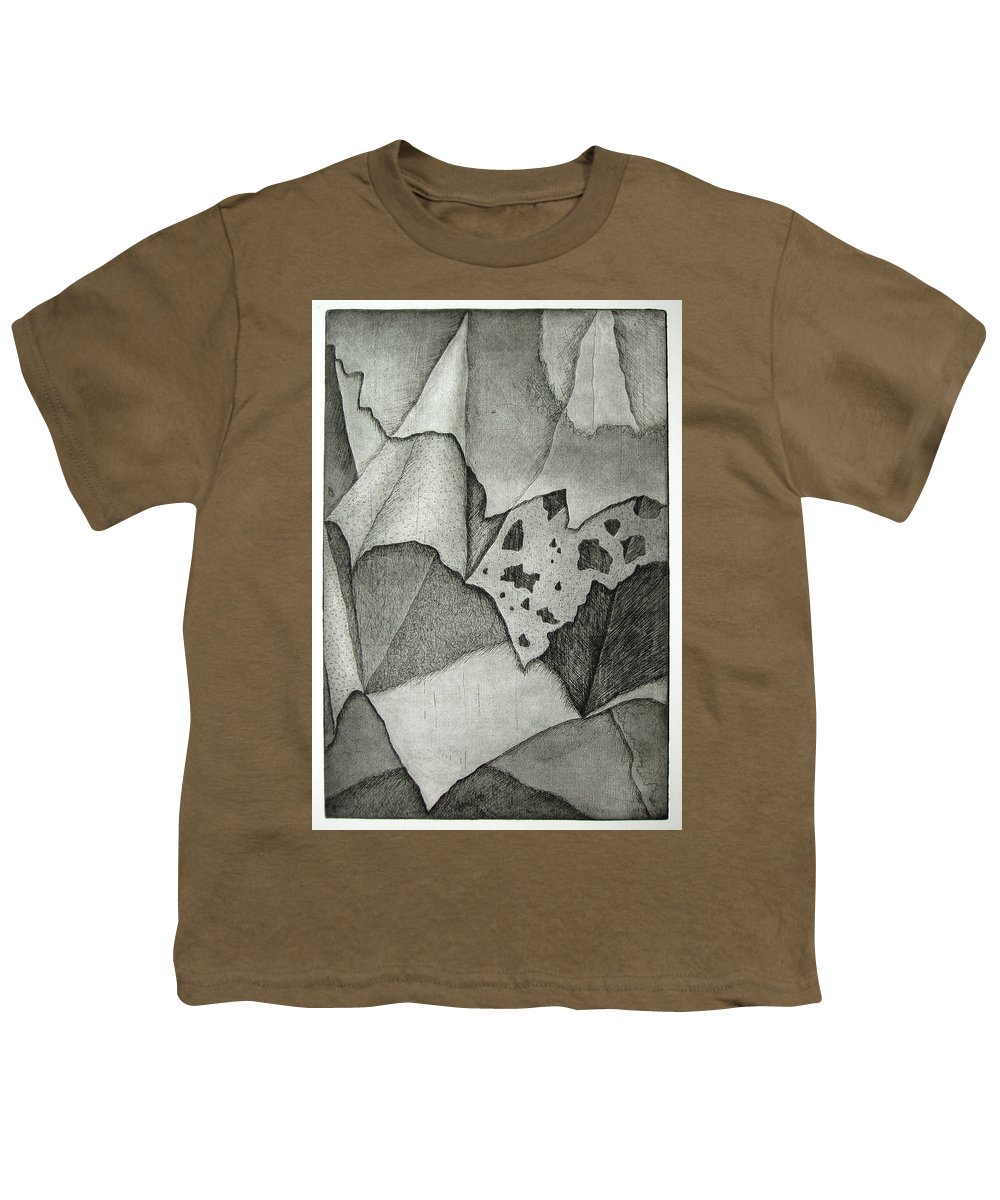 Etching Youth T-Shirt featuring the drawing Layers by Nancy Mueller