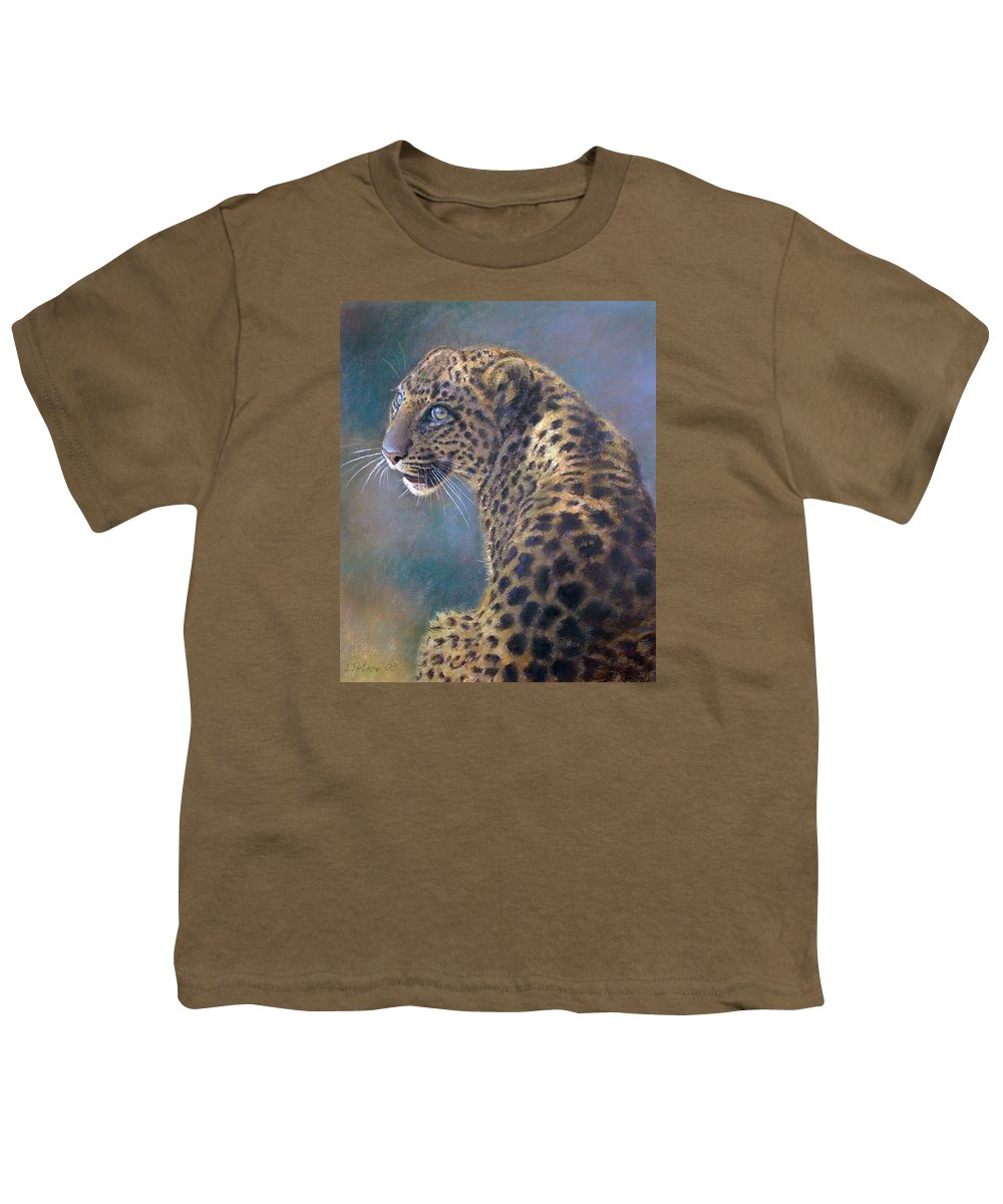 Cats Youth T-Shirt featuring the painting Leopard by Iliyan Bozhanov