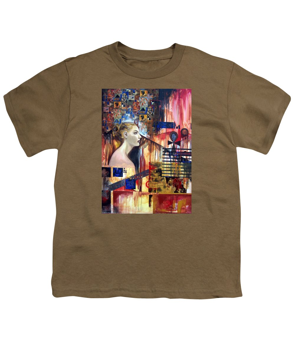 Profile Of A Woman Youth T-Shirt featuring the painting Life In The Past by Leyla Munteanu
