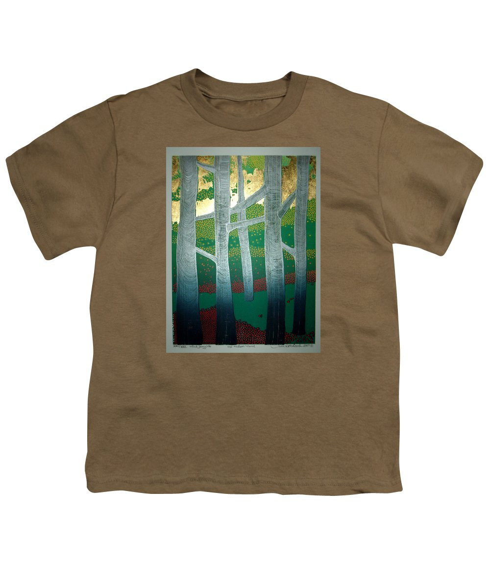 Landscape Youth T-Shirt featuring the mixed media Light Between The Trees by Jarle Rosseland