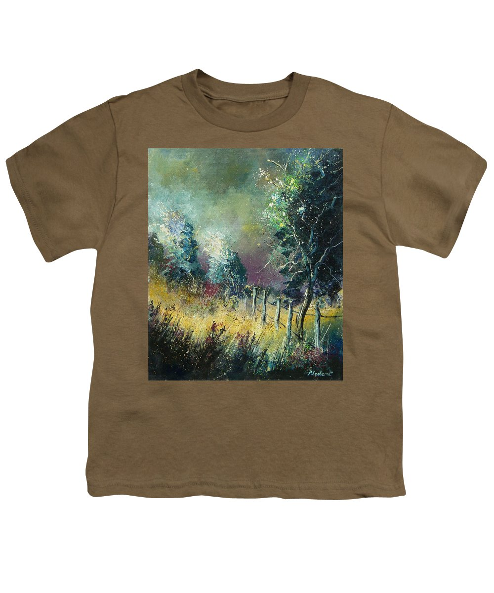 Landscape Youth T-Shirt featuring the painting Light On Trees by Pol Ledent