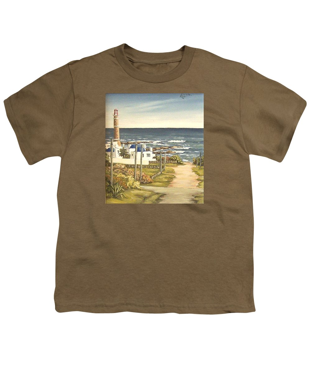 Lighthouse Seascape Sea Water Uruguay Youth T-Shirt featuring the painting Lighthouse Uruguay by Natalia Tejera