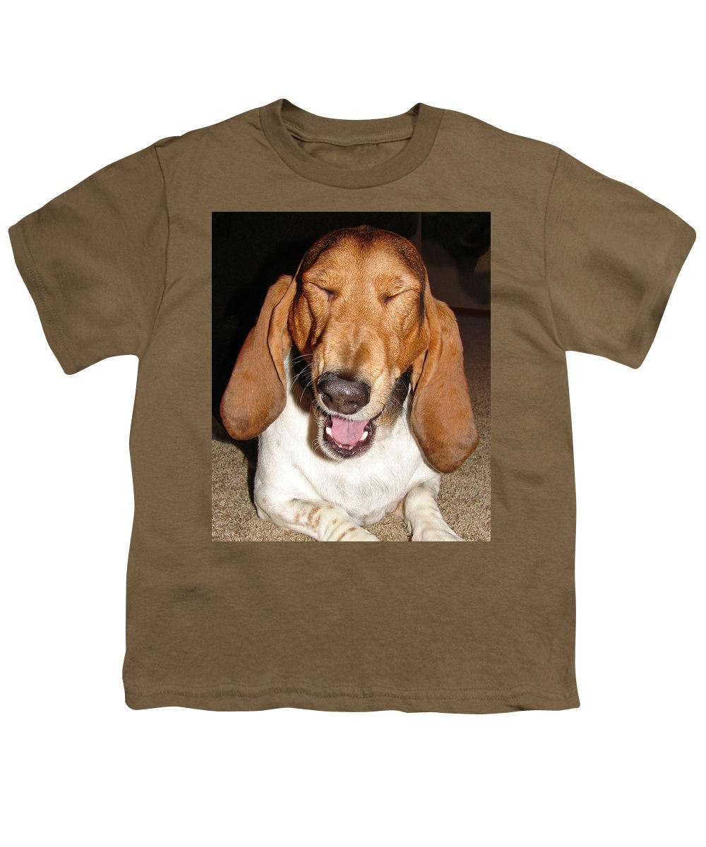 Basset Hound Youth T-Shirt featuring the photograph Lillard by Heather Coen