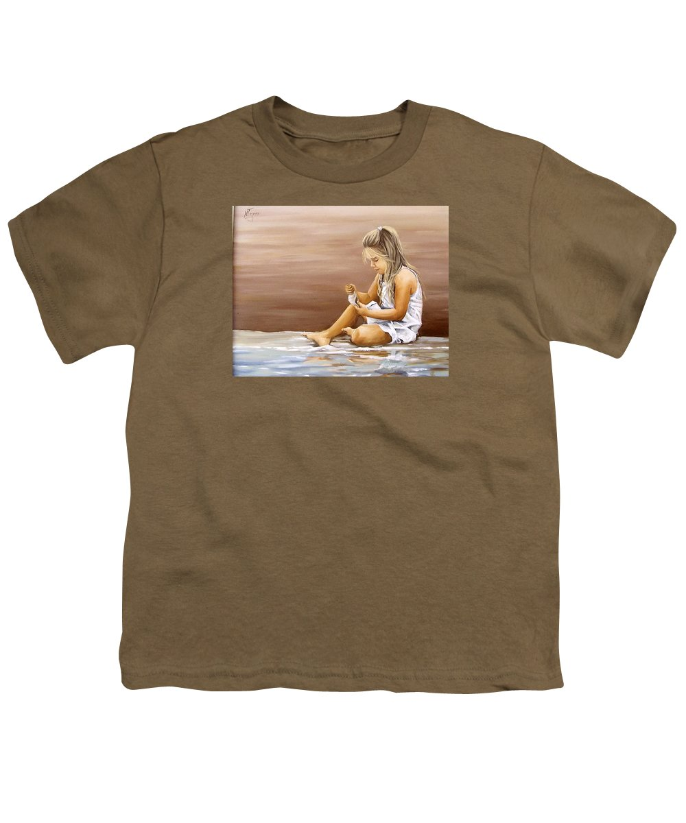 Children Girl Sea Shell Seascape Water Portrait Figurative Youth T-Shirt featuring the painting Little Girl With Sea Shell by Natalia Tejera