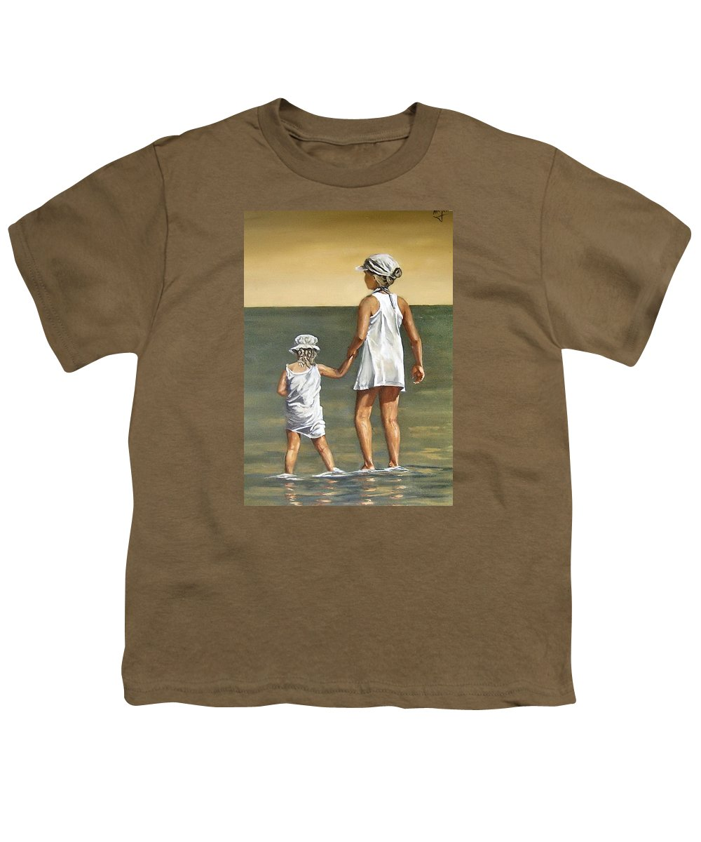 Little Girl Reflection Girls Kids Figurative Water Sea Seascape Children Portrait Youth T-Shirt featuring the painting Little Sisters by Natalia Tejera