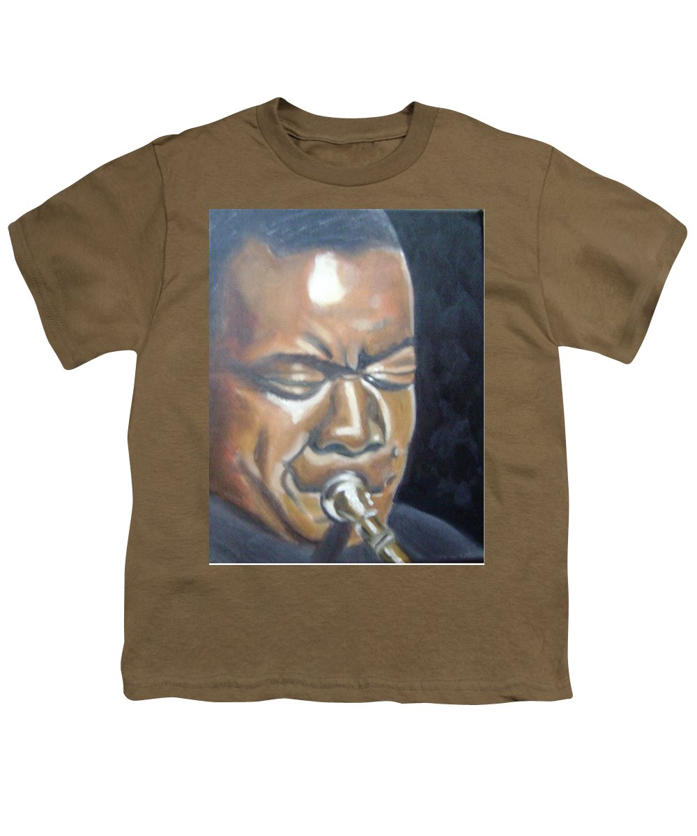 Louis Armstrong Youth T-Shirt featuring the painting Louis Armstrong by Toni Berry
