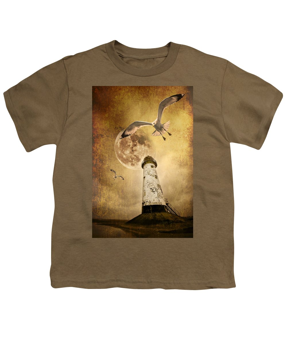 Seagull Youth T-Shirt featuring the photograph Lunar Flight by Meirion Matthias