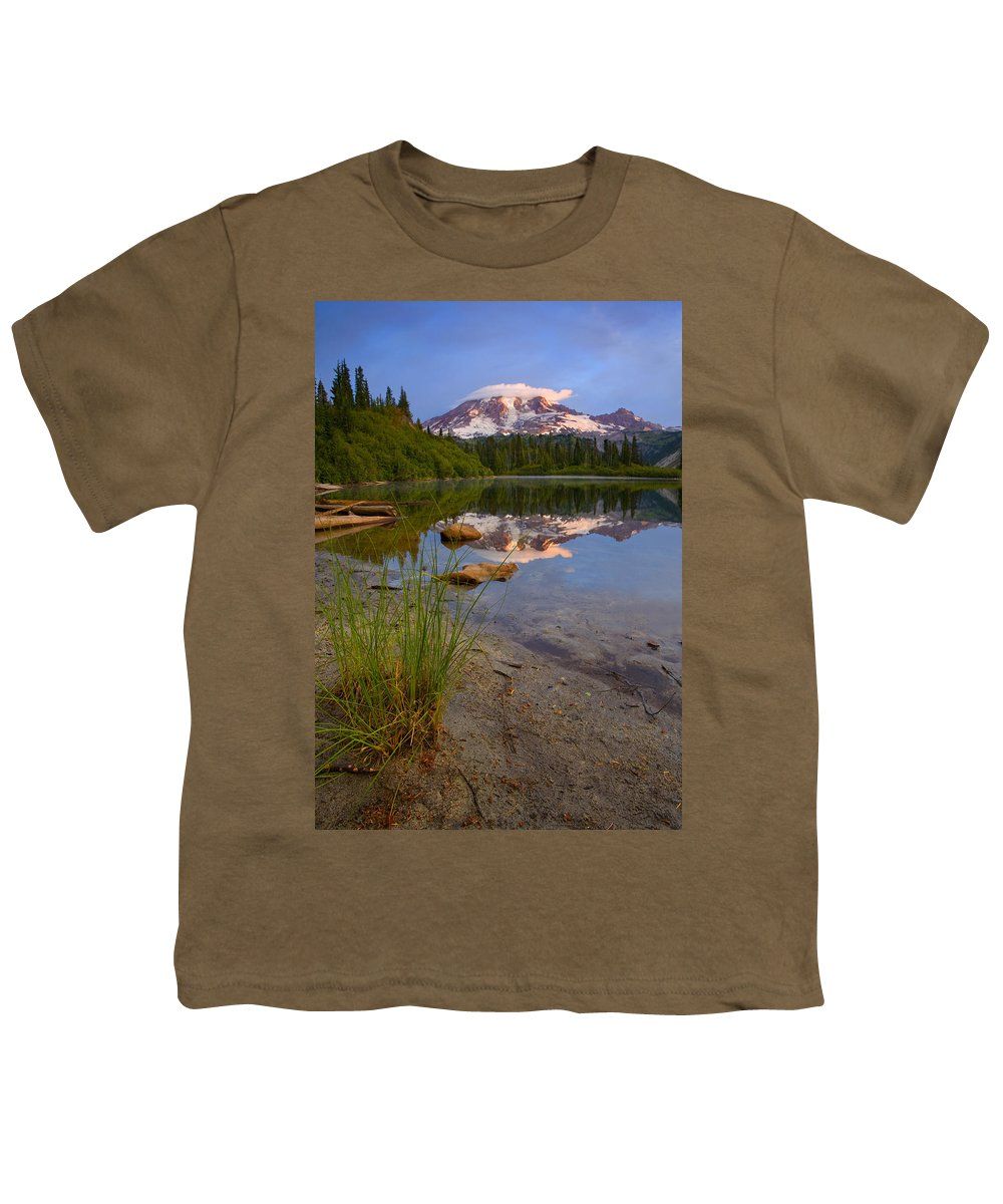 Mt. Rainier Youth T-Shirt featuring the photograph Majestic Glow by Mike Dawson
