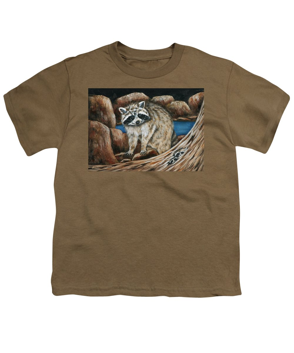 Racoon Youth T-Shirt featuring the painting Mama Racoon by Ruth Bares