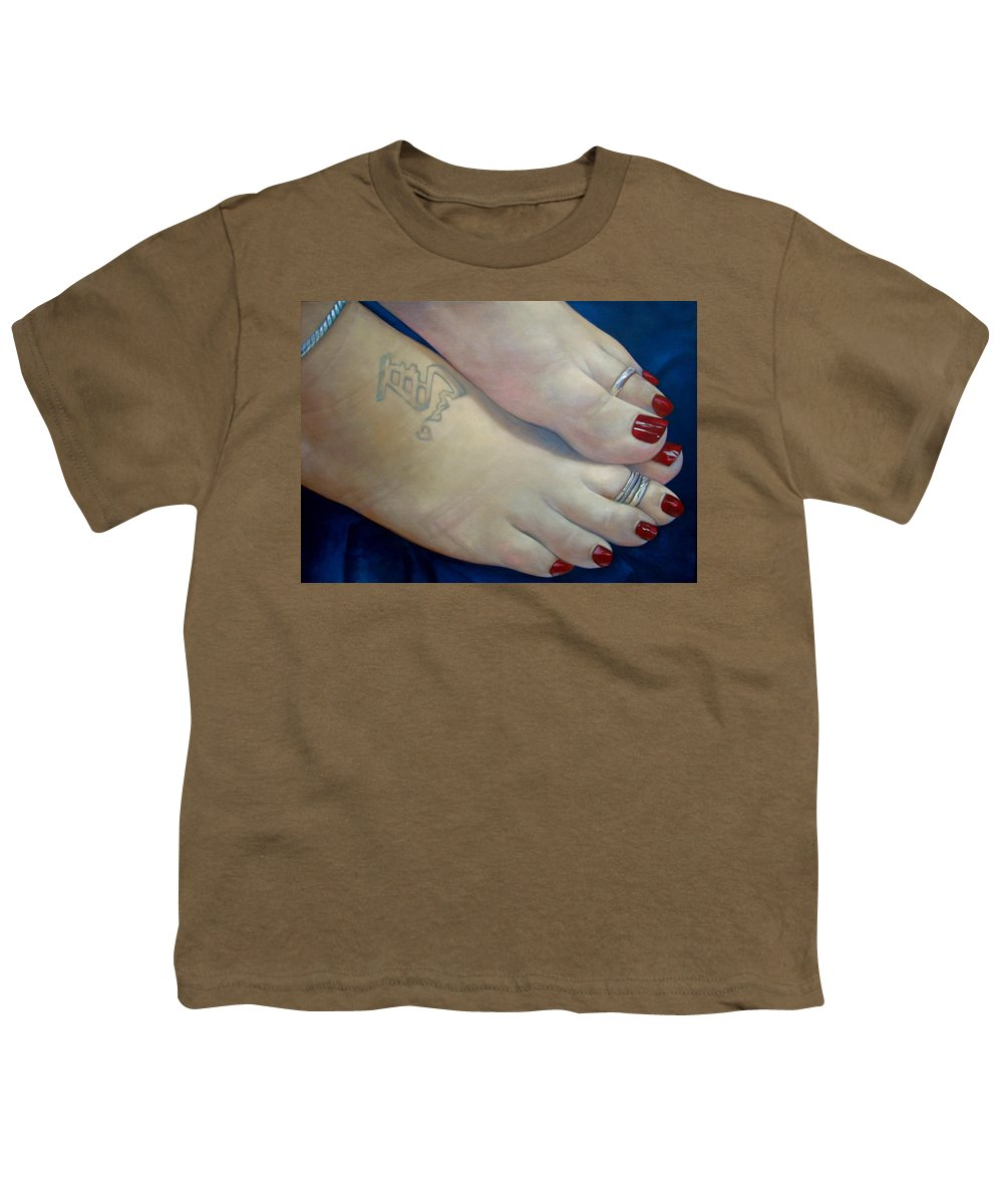 Toes Youth T-Shirt featuring the painting Mandys Toes by Jerrold Carton