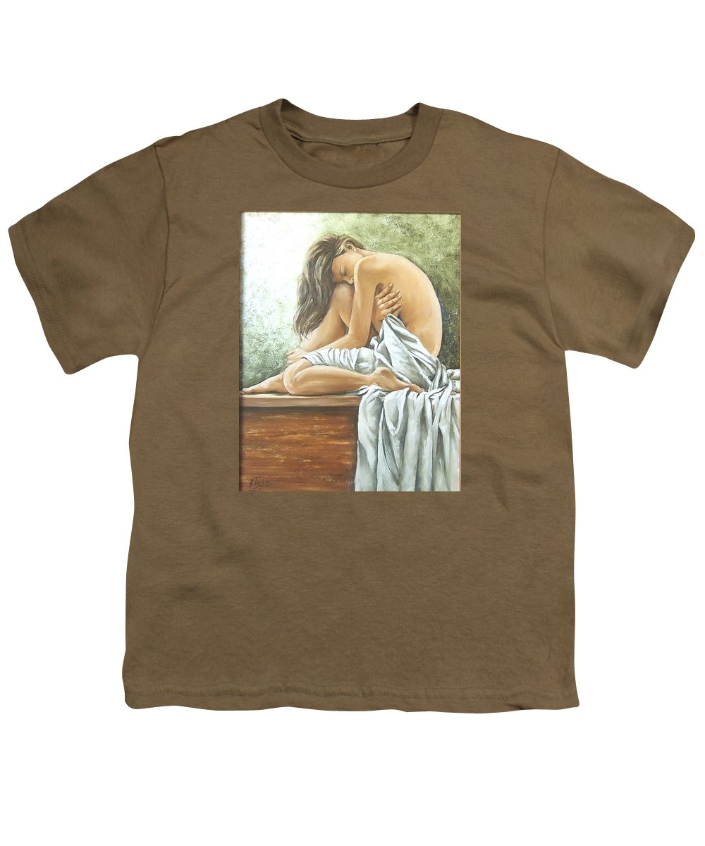 Gir Youth T-Shirt featuring the painting Melancholy by Natalia Tejera