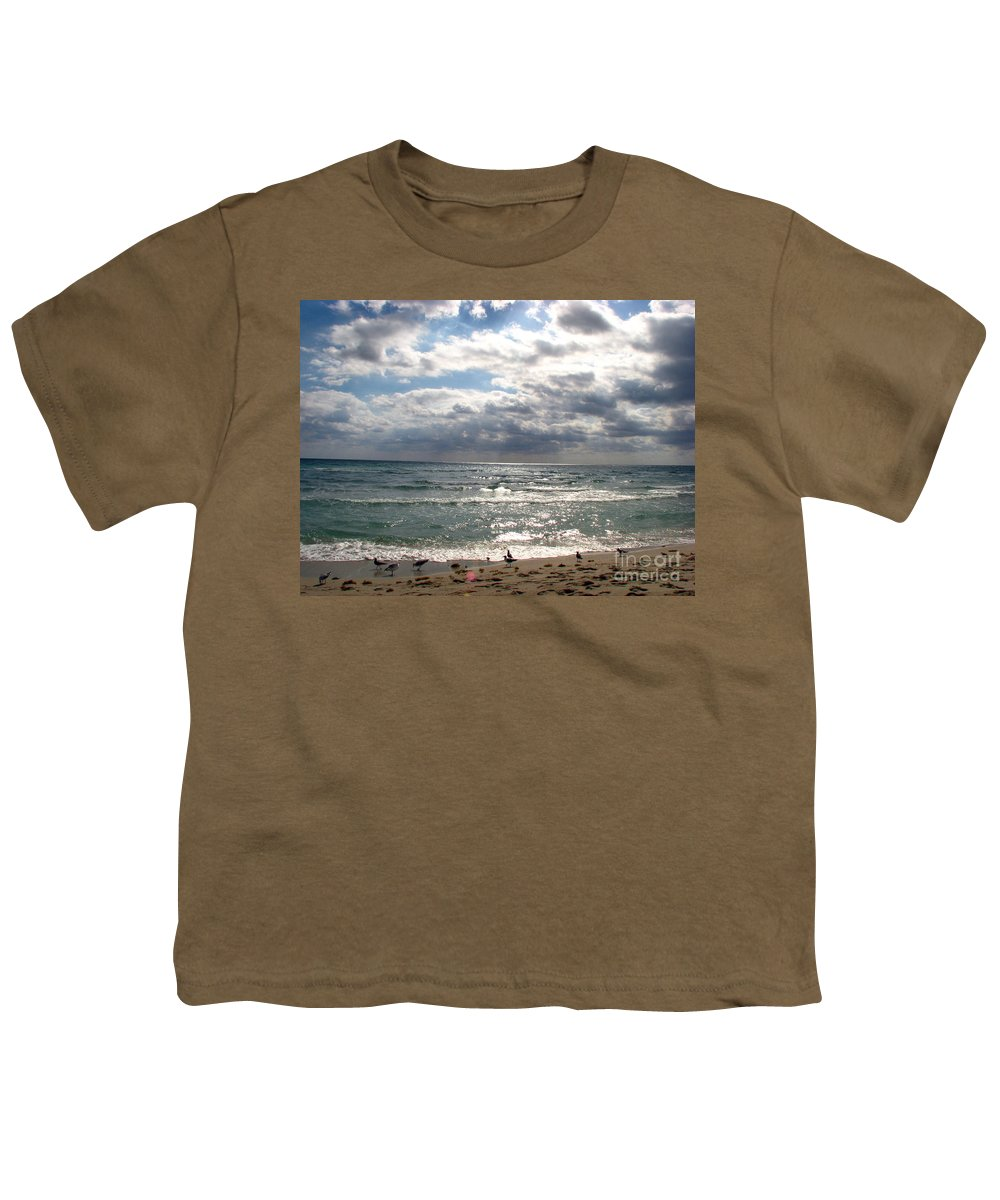 Miami Youth T-Shirt featuring the photograph Miami Beach by Amanda Barcon