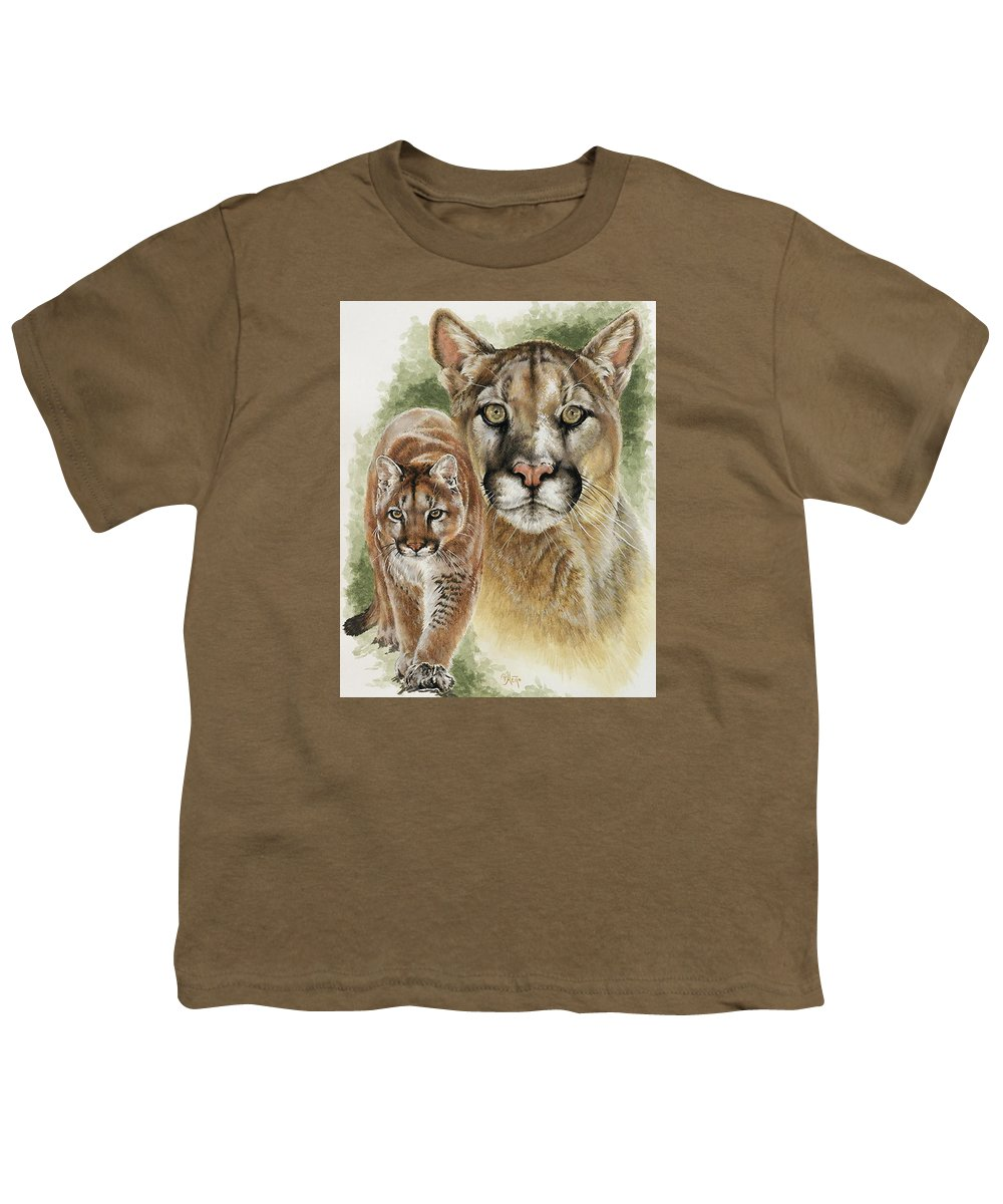 Cougar Youth T-Shirt featuring the mixed media Mighty by Barbara Keith
