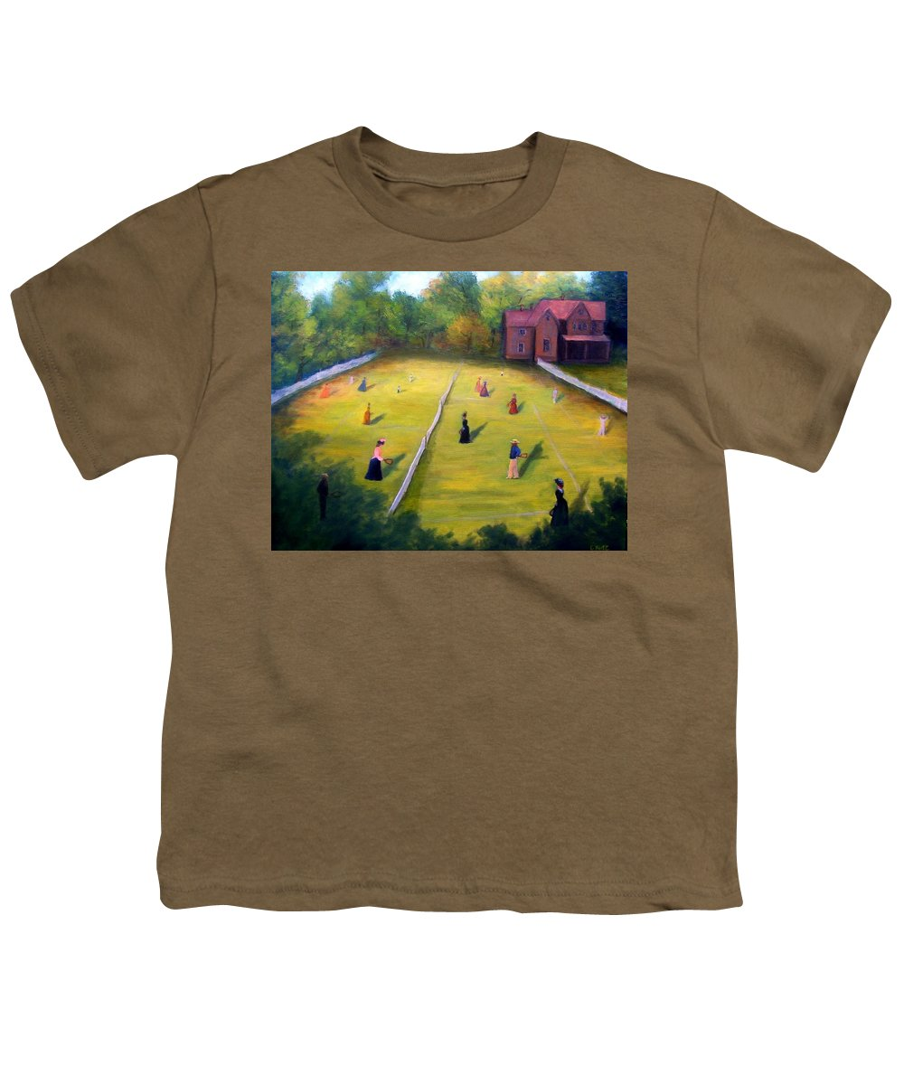 Tennis Art Youth T-Shirt featuring the painting Mixed Doubles by Gail Kirtz
