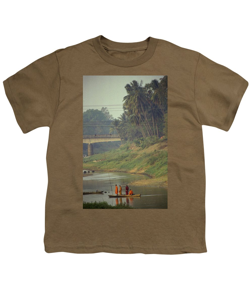 Monks Youth T-Shirt featuring the photograph Monks - Battambang by Patrick Klauss