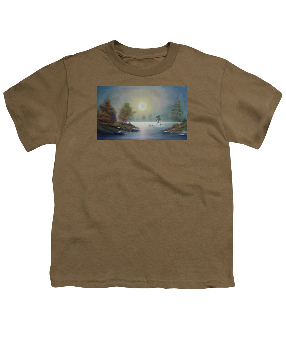Landscape Youth T-Shirt featuring the painting Monstruo Ness by Angel Ortiz