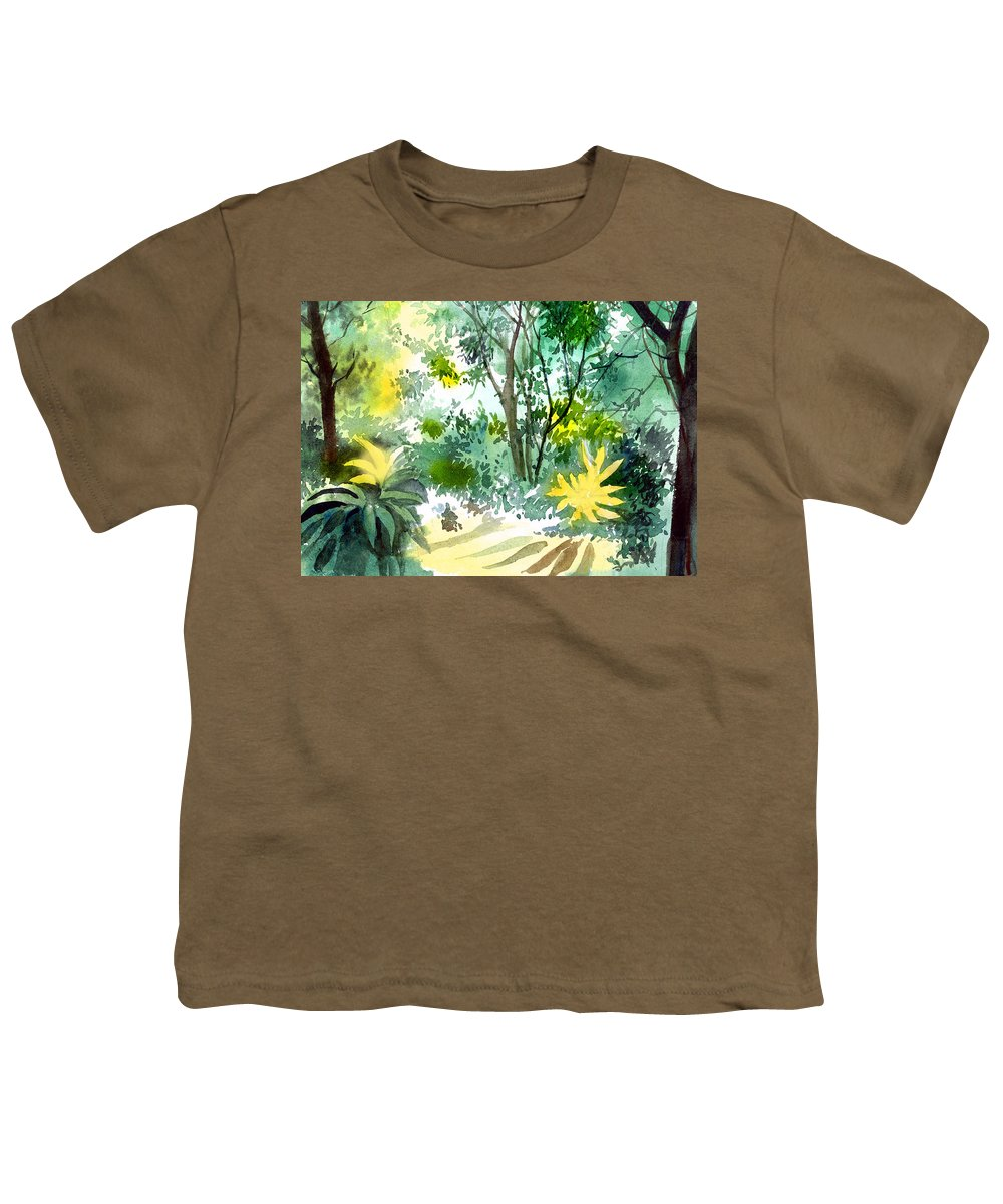 Landscape Youth T-Shirt featuring the painting Morning Glory by Anil Nene