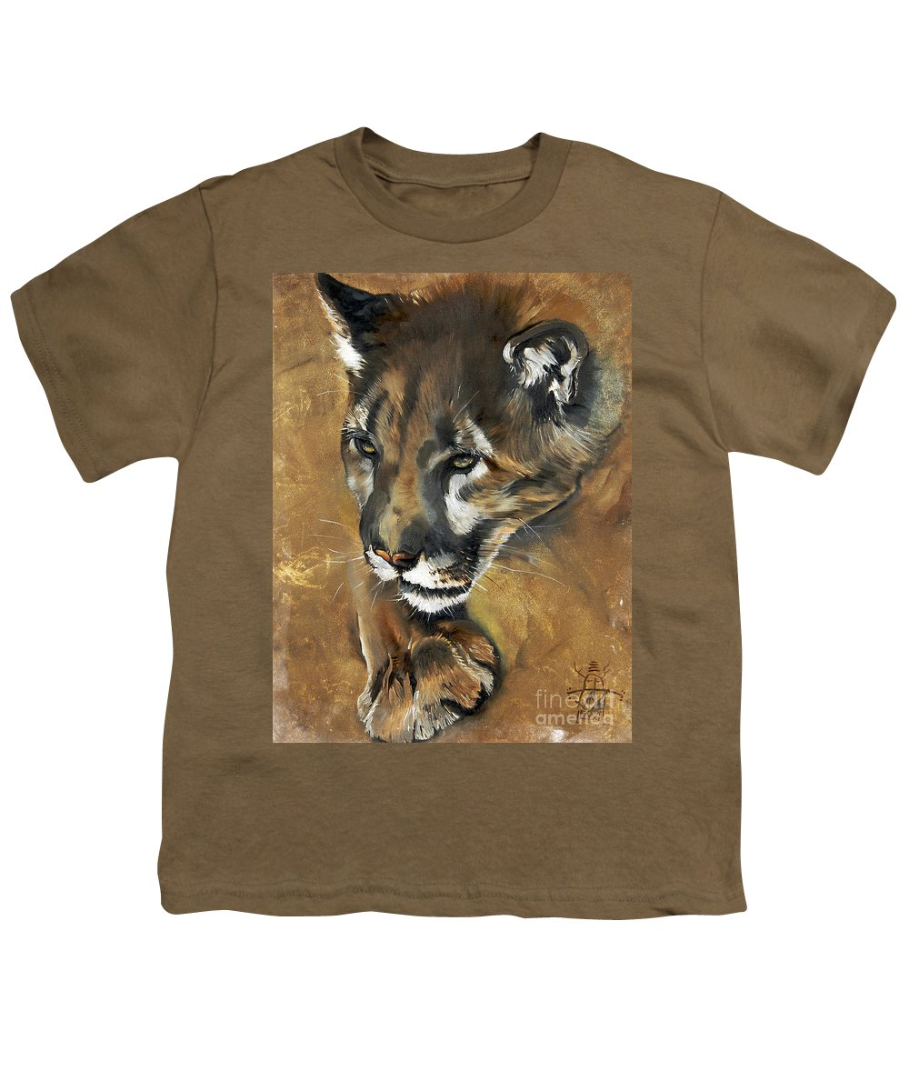 Southwest Art Youth T-Shirt featuring the painting Mountain Lion - Guardian Of The North by J W Baker