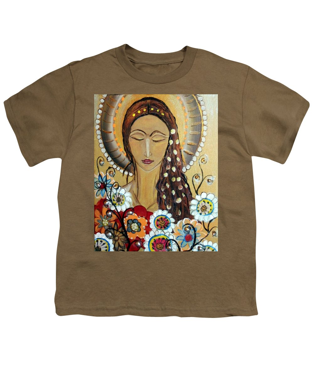 Art Youth T-Shirt featuring the painting My Angel Modern Icon by Luiza Vizoli