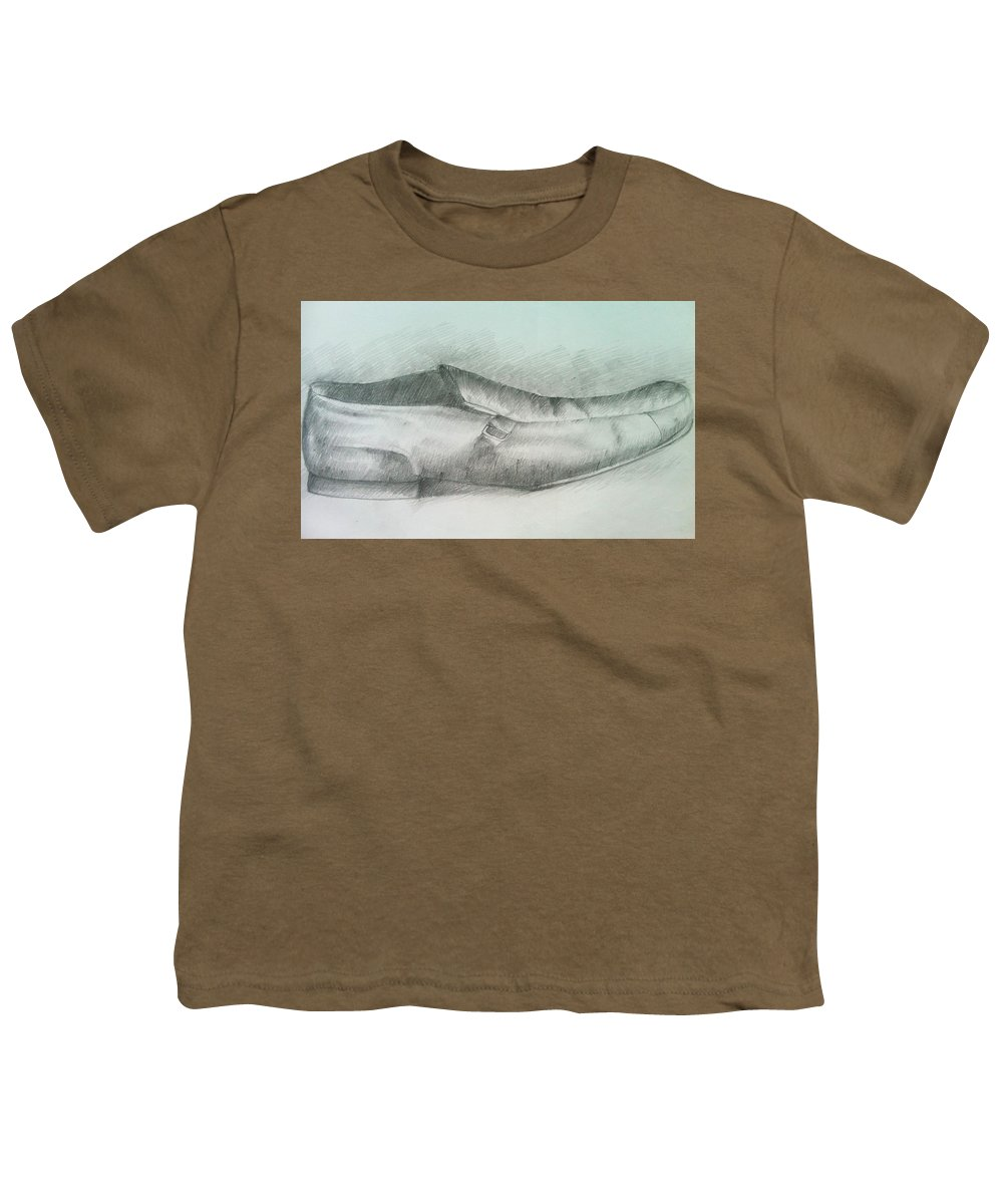 Drawings Youth T-Shirt featuring the drawing My Shoe by Olaoluwa Smith