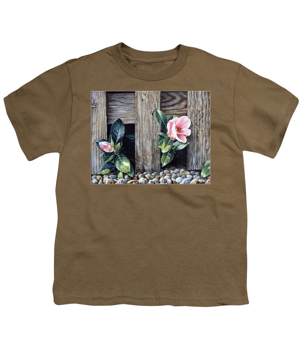 Flower Pink Acrylics Neighbours Fence Wood Leaves Youth T-Shirt featuring the painting Neighbours by Arie Van der Wijst