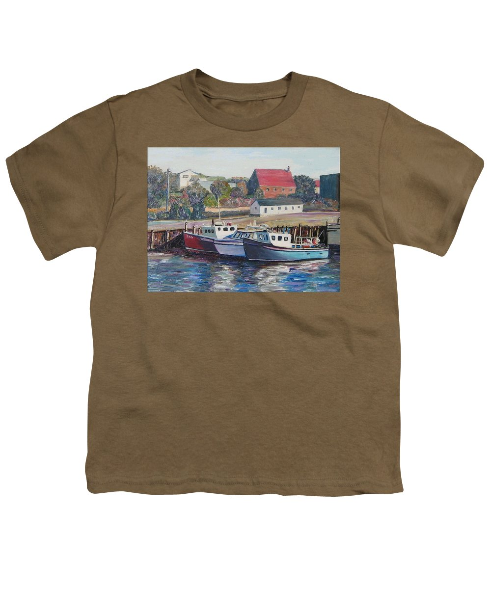 Nova Scotia Youth T-Shirt featuring the painting Nova Scotia Boats by Richard Nowak