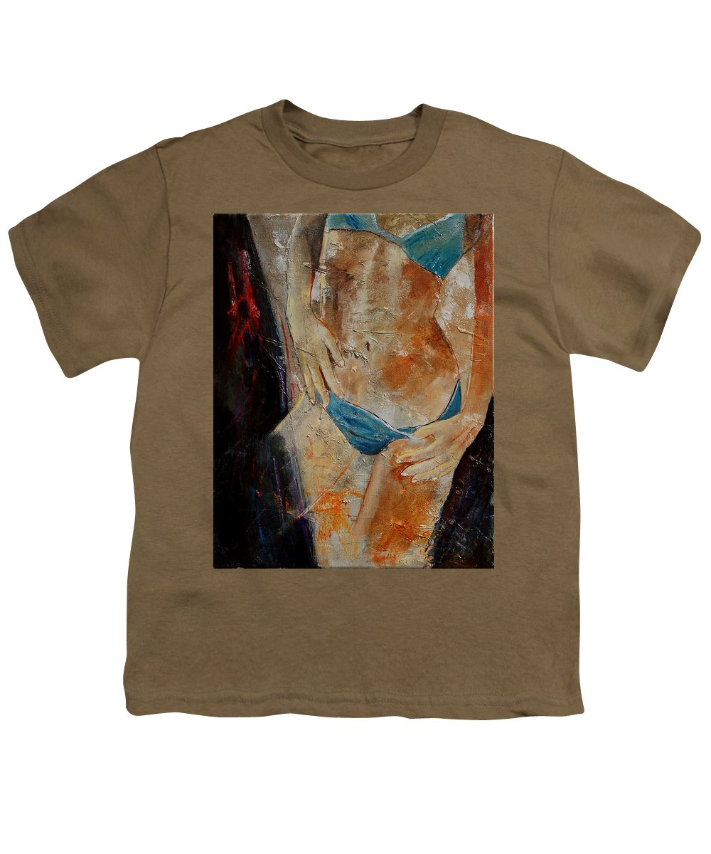 Girl Nude Youth T-Shirt featuring the painting Nude 450608 by Pol Ledent