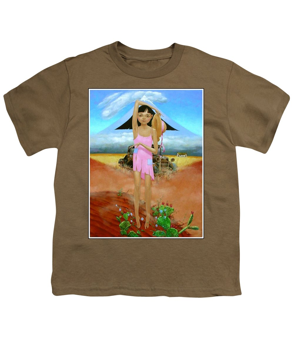 Country Girl Youth T-Shirt featuring the painting Oklahoma Girl With Mt.fuji by Jerrold Carton